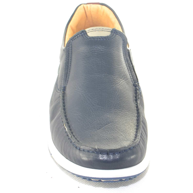 Scarpe uomo mocassini interland comfort man casual made in italy vera pelle  blu fondo antiscivolo moda f84a1423c2f
