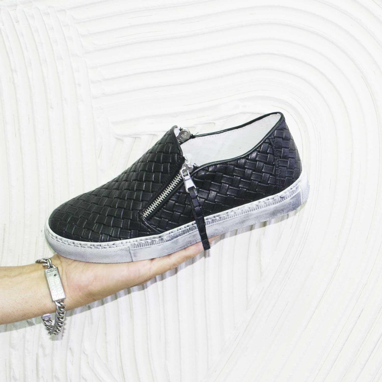 Scarpe uomo mocassino zip intrecciatura vera pelle made in italy uomo slip on Malu Shoes   MaluShoes