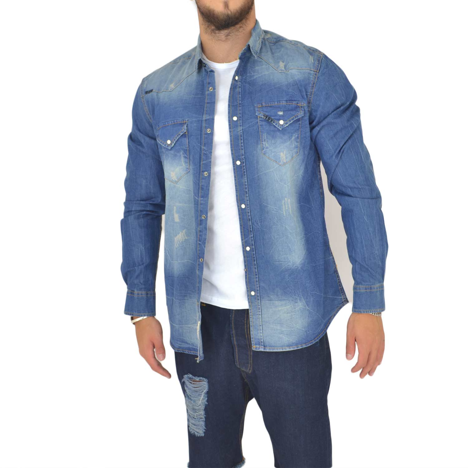 CAMICIA UOMO MAN JEANS SCURO DENIM COLLO RIGIDO MANICA LUNGA BASIC CON BOTTONI PARTICOLARI.