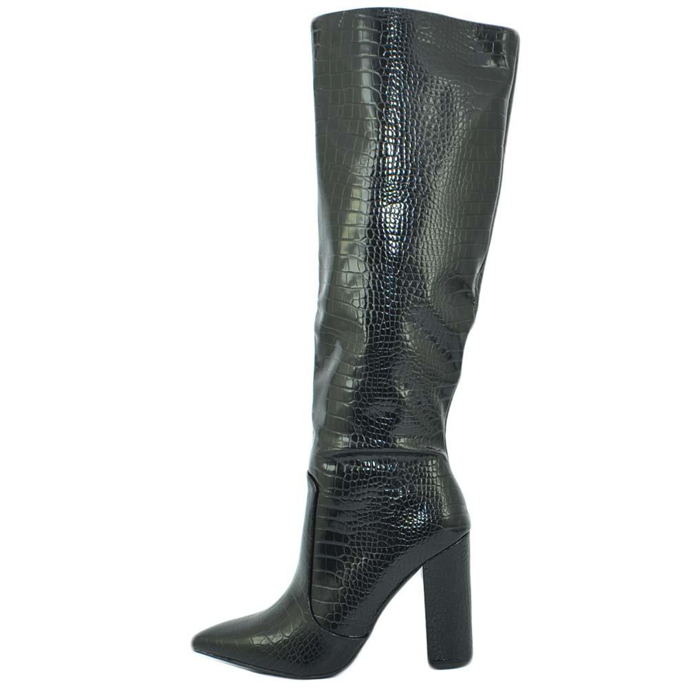 Stivale donna alto pitonato rigido nero con tacco largo stampa 3d stile camperos a punta moda altezza ginocchio donna stivali Malu Shoes | MaluShoes