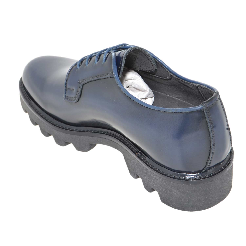 Scarpe uomo calzature art.224 francesina in abrasivato lucido blu stringate fondo roccia imperial antiscivolo uomo stringate MALU SHOES | MaluShoes