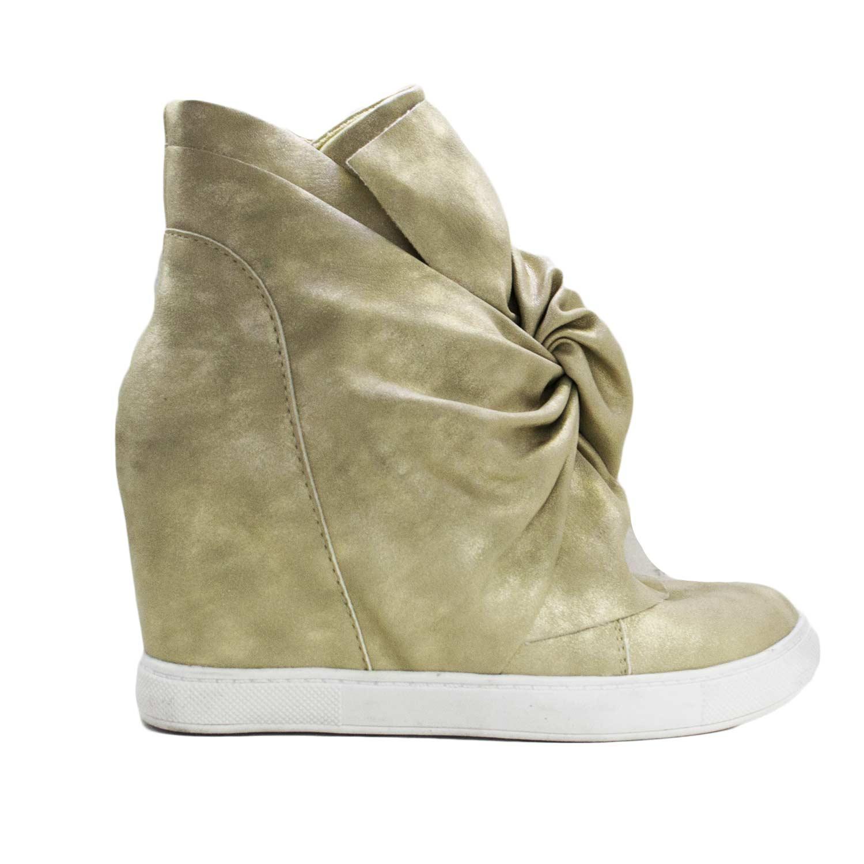 2d602a2557 Sneakers fiocco con para interna satinata beige/oro fioccone moda trend  donna sneakers alta Bellamica | MaluShoes