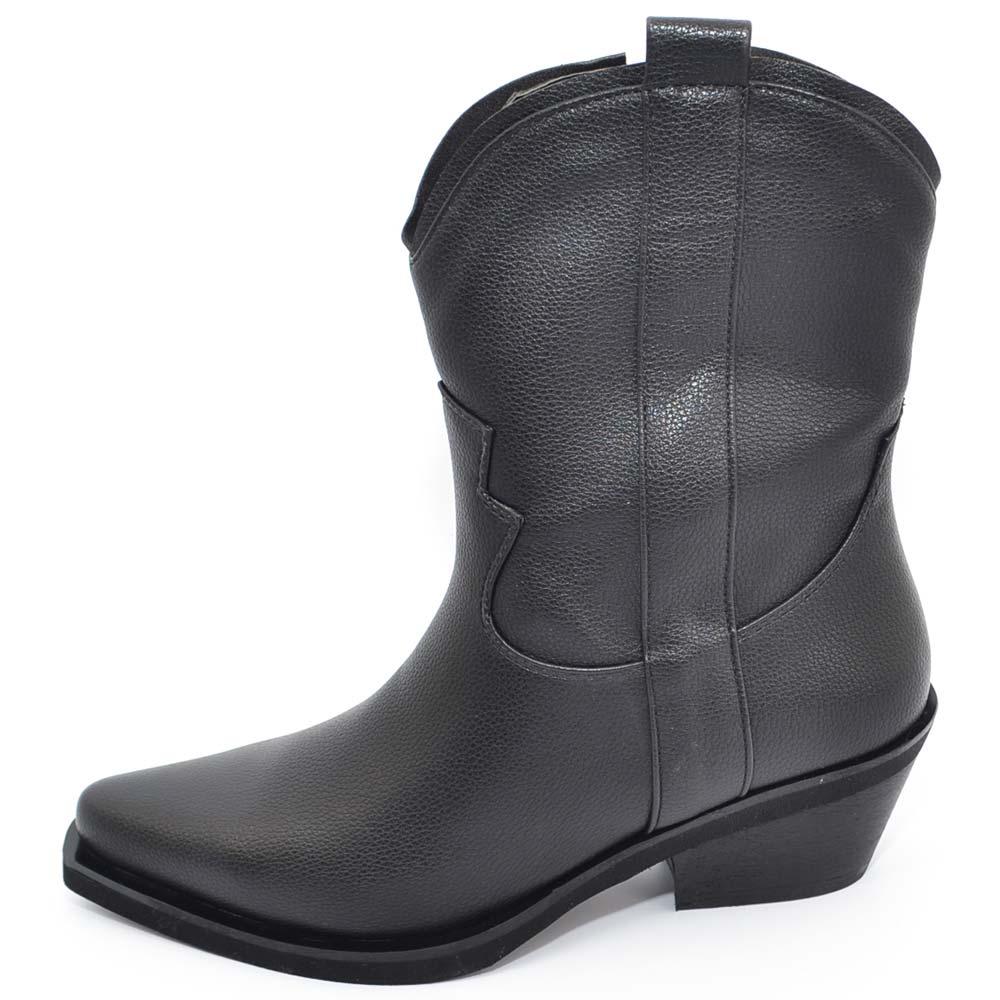 Camperos donna stivali texani tipo western nero in ecopelle liscia altezza polpaccio moda basic handmade in italy donna stivaletti Malu Shoes |