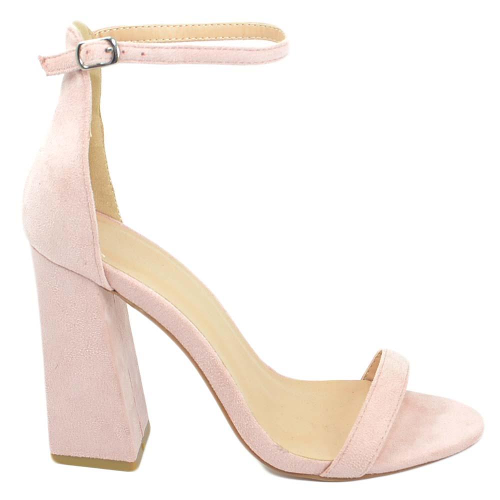 Sandali con borchie e cinturino rosa in ecopelle da donna