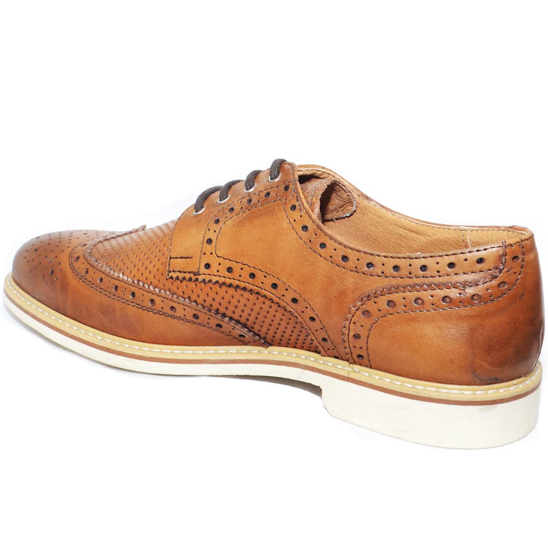 f447713d39c9 scarpe uomo stringata inglese colore cuoio microforatura centrale vera pelle  made in italy comfort classico sportivo. Passa il mouse sopra per eseguire  zoom