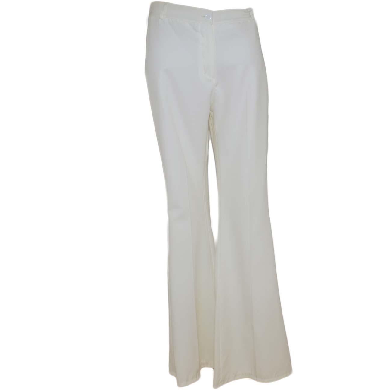 fe7603db50 Pantaloni donna a zampa bianchi a vita alta di cotone sexy slim aderenti  tinta unita bell-botton push up donna pantaloni Malu Shoes | MaluShoes