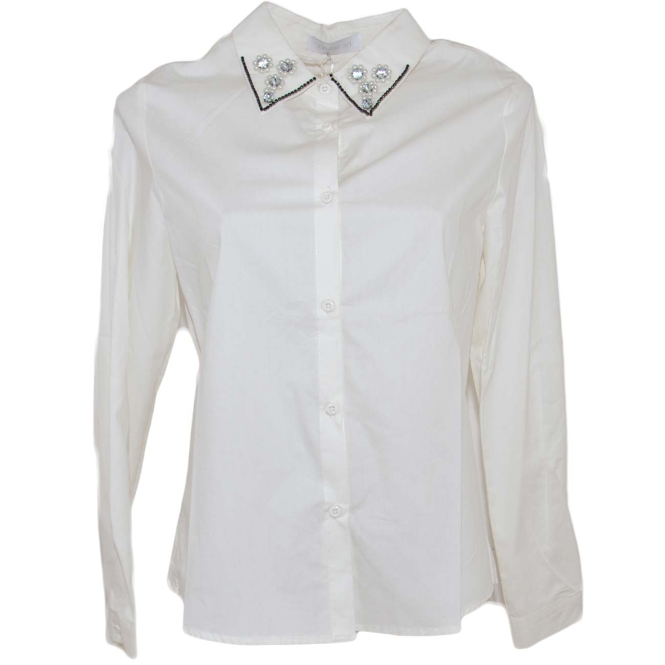 Camicia donna bianca in cotone classica con perline e strass su colletto abbottonatura basic maschile moda.