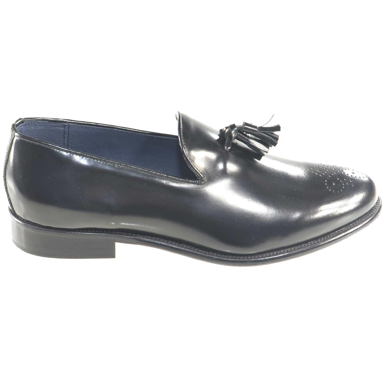 scarpe mocassino uomo nero moda classico vero cuoio eleganti cerimonia  eventi casual campanelle e monogramma in 409b30b922d