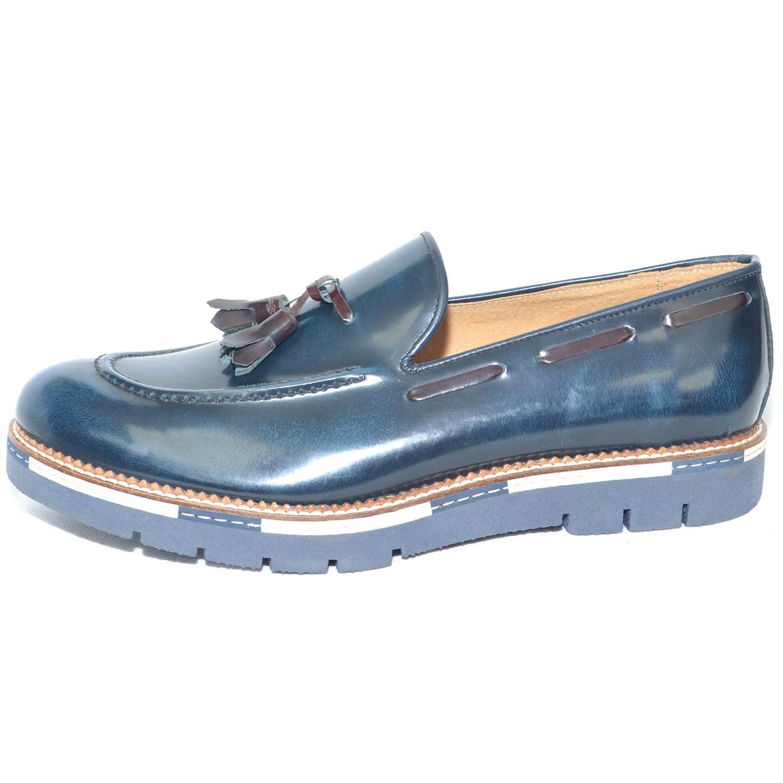 scarpe uomo mocassino in vera pelle abrasivato blu lucido fondo mare comfort interno cuoio made in italy uomo mocassini Malu Shoes   MaluShoes