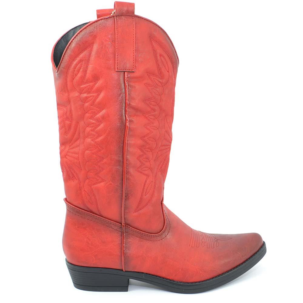 Dettagli su Stivali donna camperos texani stile western rossi con cucitura laser su pelle ti