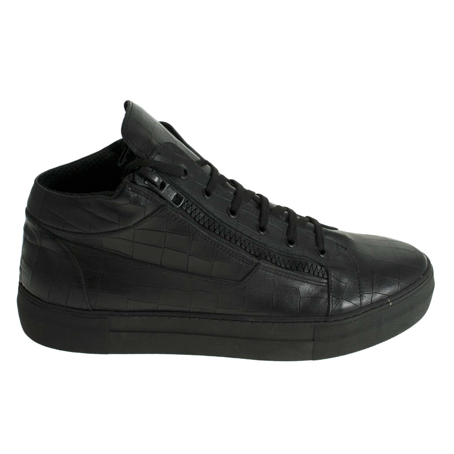 Scarpe uomo sneakers alta art az010 stampa squamato nero vera pelle made in  italy. 3d87e894c07
