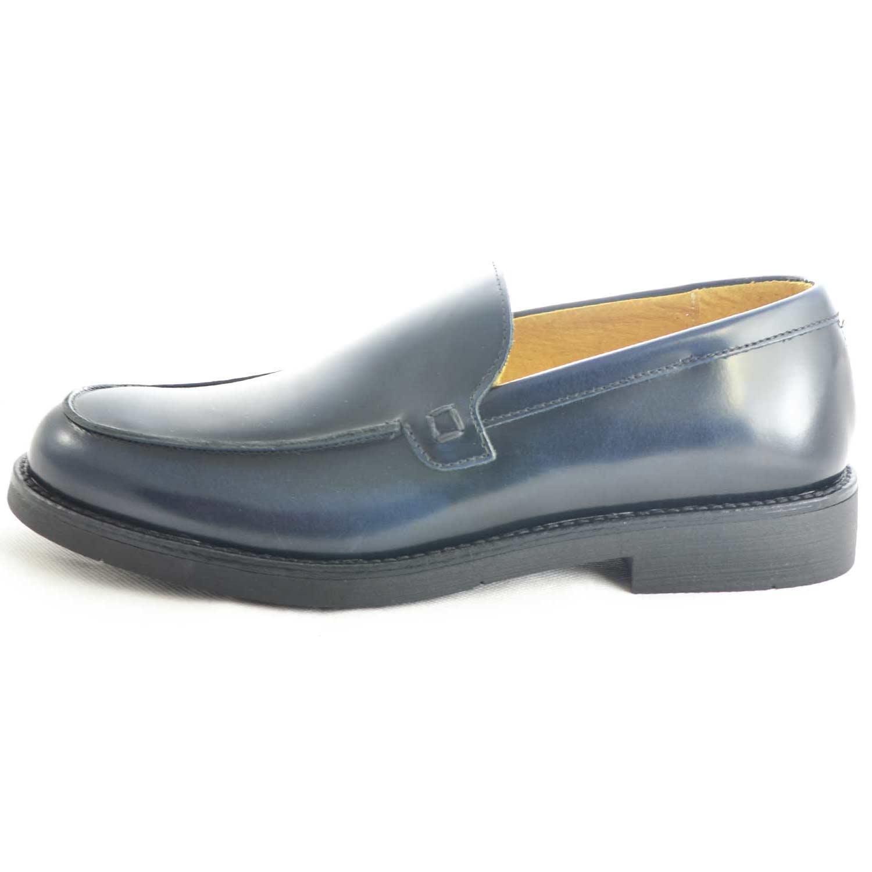 Scarpe uomo mocassini inglese college vera pelle abrasivato blu made in  italy fondo classico sportivo genuine 6a578118986