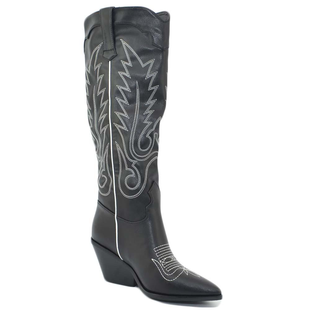 Dettagli su Stivali donna camperos texani tacco basso western neri con fantasia astratta bia