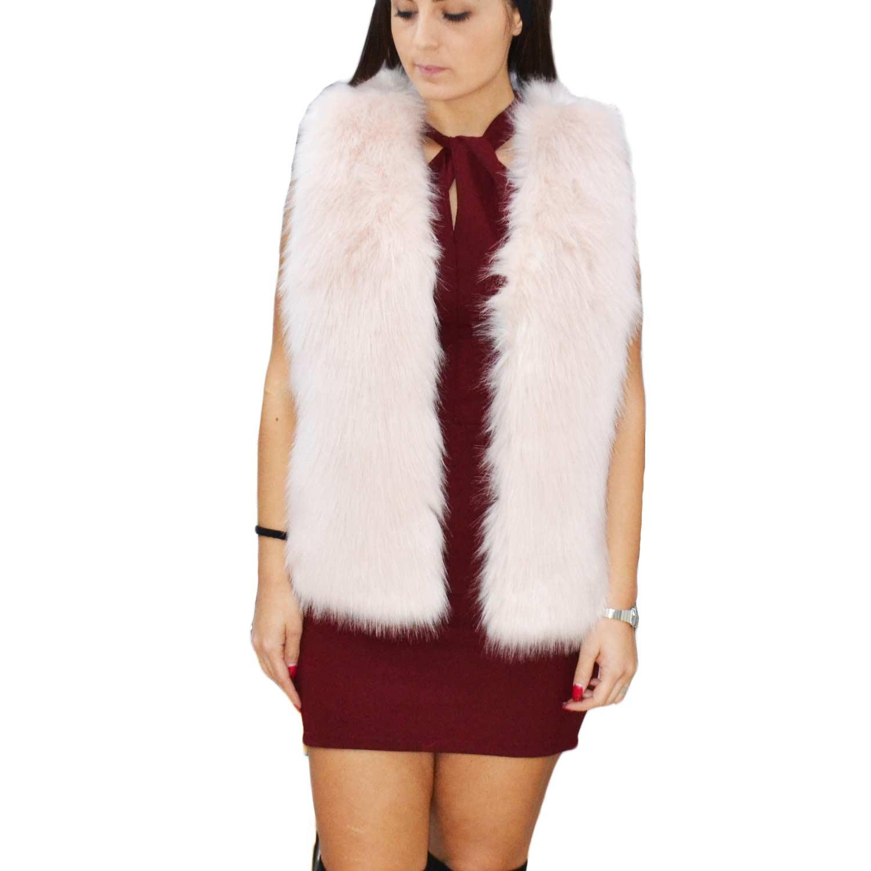 New pelliccia k-zell donna gilet eco pelliccia colore rosa cappotto caldo  pelliccia morbidissima 67d72945027