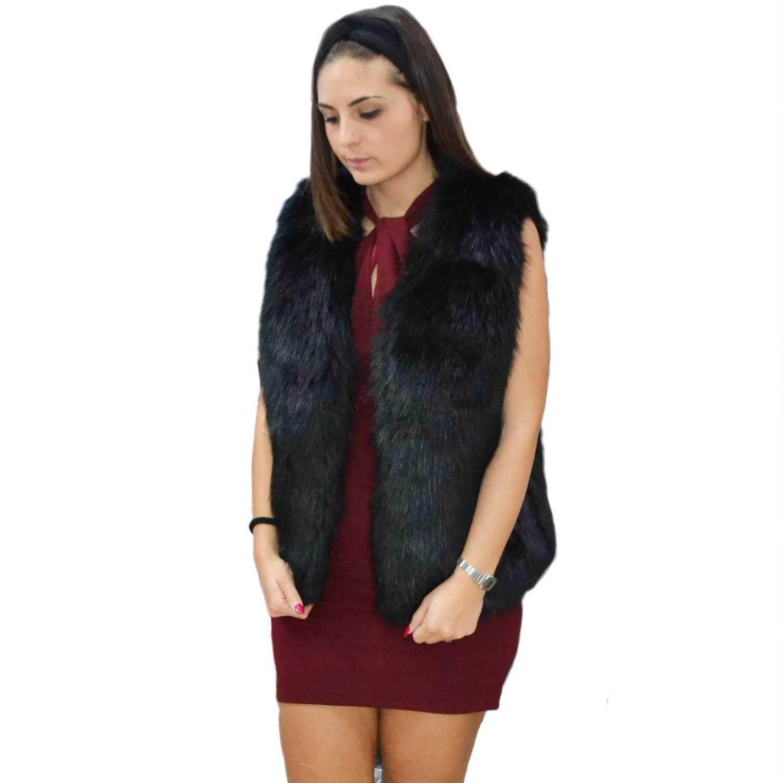 New pelliccia k-zell donna gilet eco pelliccia colore nero cappotto caldo  pelliccia morbidissima c8b46e9aae6