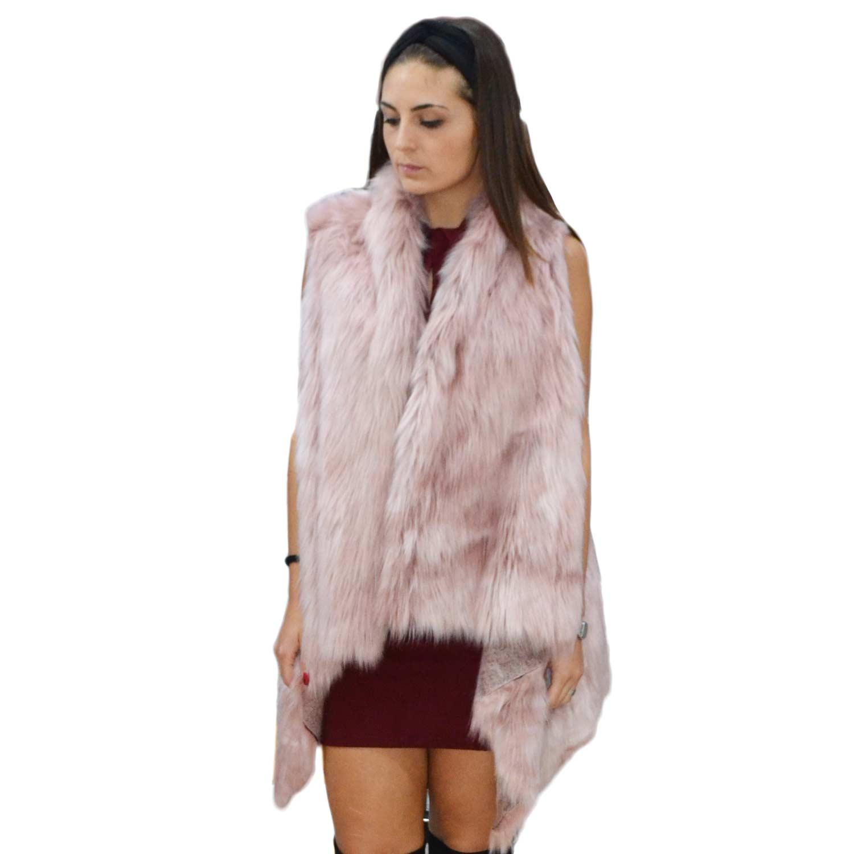 New pelliccia osley donna gilet eco pelliccia lunga colore rosa cappotto  caldo pelliccia morbidissima f296a116a90