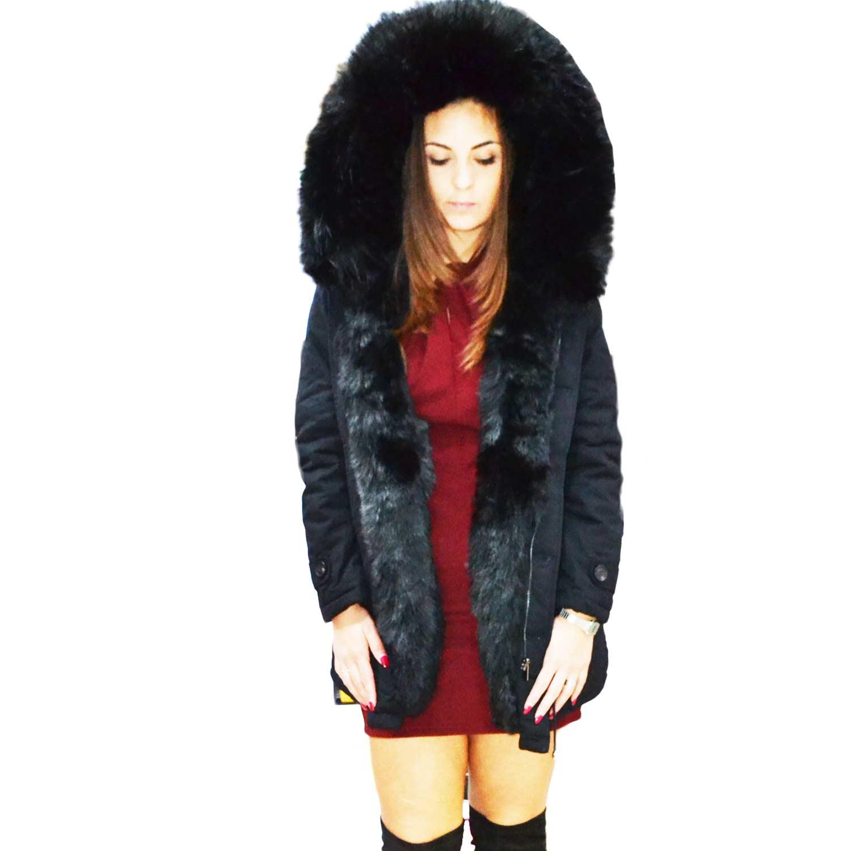 watch b0cab 8ca94 New Parka donna lungo nero con pelliccia colorata nero voluminosa glamour  donna parka k-zell | MaluShoes