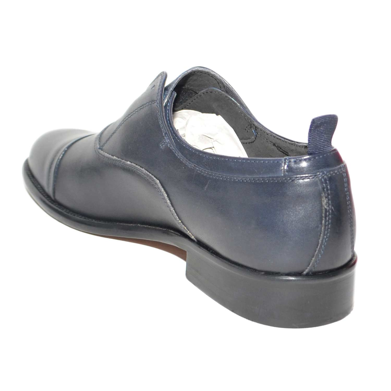 Scarpe uomo francesina stringata blu vera pelle spazzolata art b234  invernale made in italy elastico 63de70bea9c
