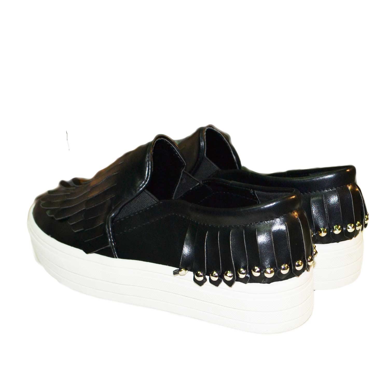 lussureggiante nel design enorme inventario lucentezza adorabile Mocassino donna basso con frange e borchie nero fondo doppio donna  mocassini Malu Shoes   MaluShoes