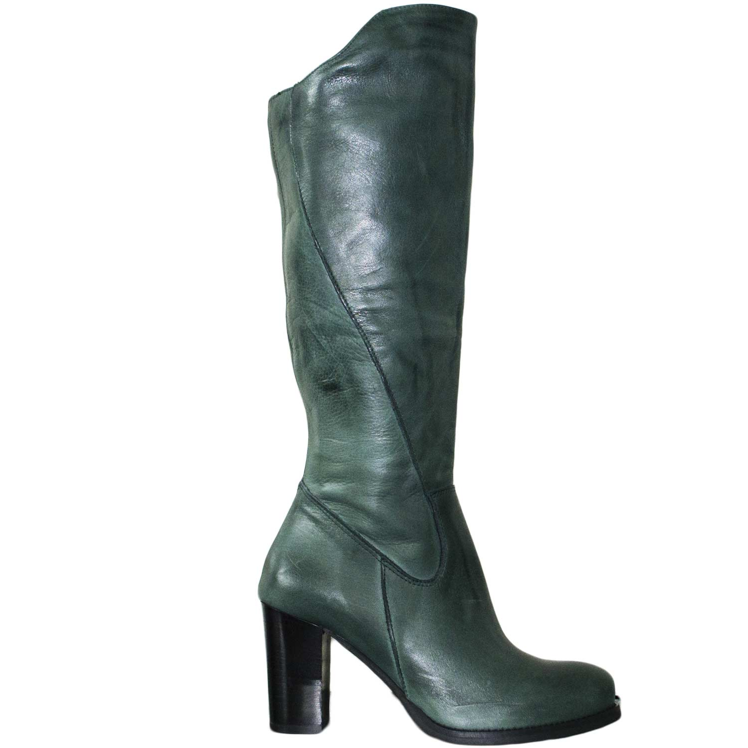 Stivale donna vera pelle verde tacco largo comfort made in italy art 10230 .