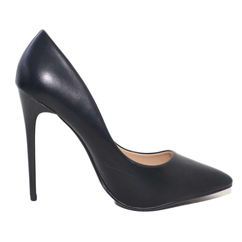 481b2a11de2bfc scarpe donna eleganti decollete in pelle nero con scollo rotondo e tacco a  spillo. Passa il mouse sopra per eseguire zoom