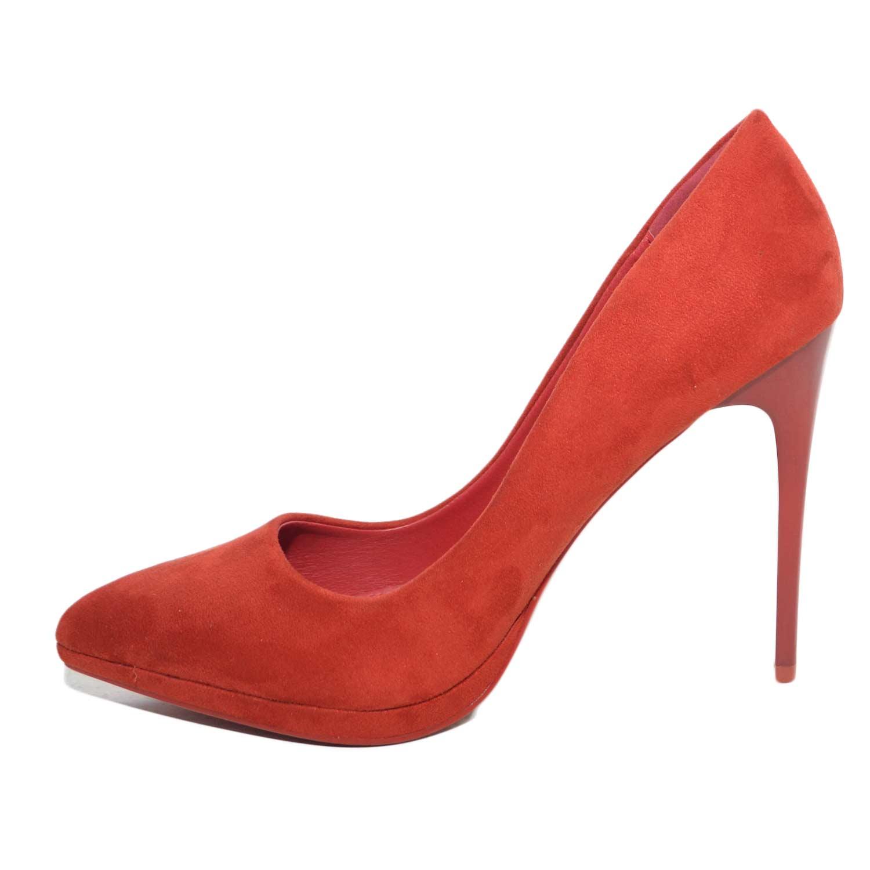 scarpe donna eleganti decollete  in camoscio fragola con plateau e tacco a  spillo moda glamour 165ee95fc26