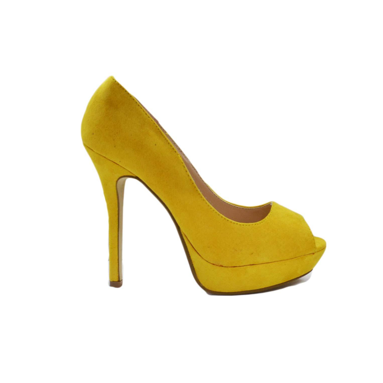 scarpe donna spuntatine camoscio giallo tacco moda donna d collet ... 53c6dcf5ad3