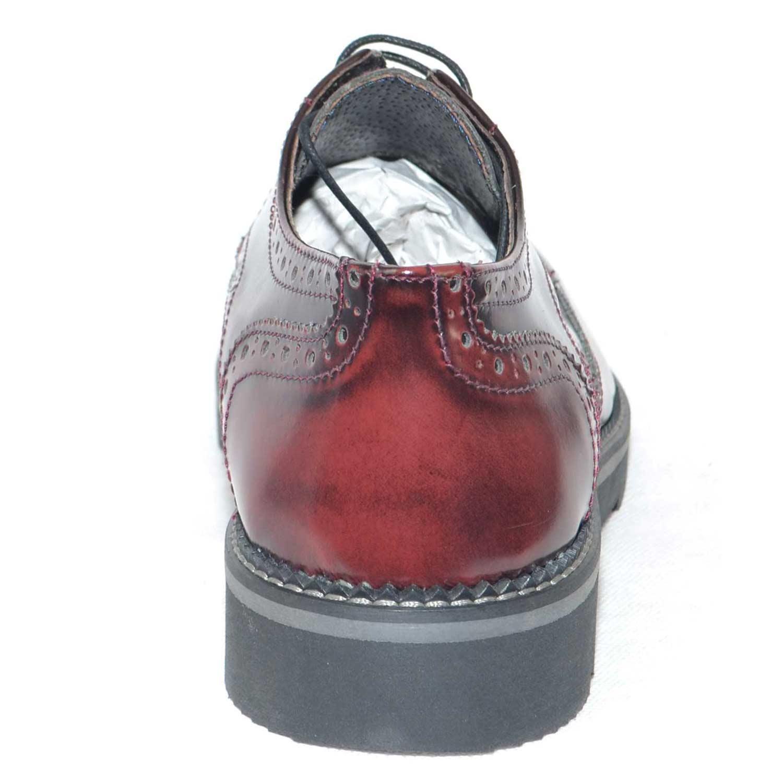scarpe uomo stringate vera pelle abrasivato bordeaux made in ly fondo antiscivolo treccia artigianale cerimonia elegante uomo stringate made in italy