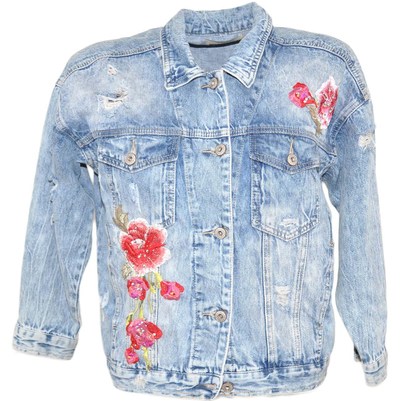 watch e6f15 b8e0b Giacca giubbino di jeans donna corto lavaggio vintage con fiori cuciti e  borchiette linea slim fit moda gipsy tendenza donna giacche Malu Shoes | ...