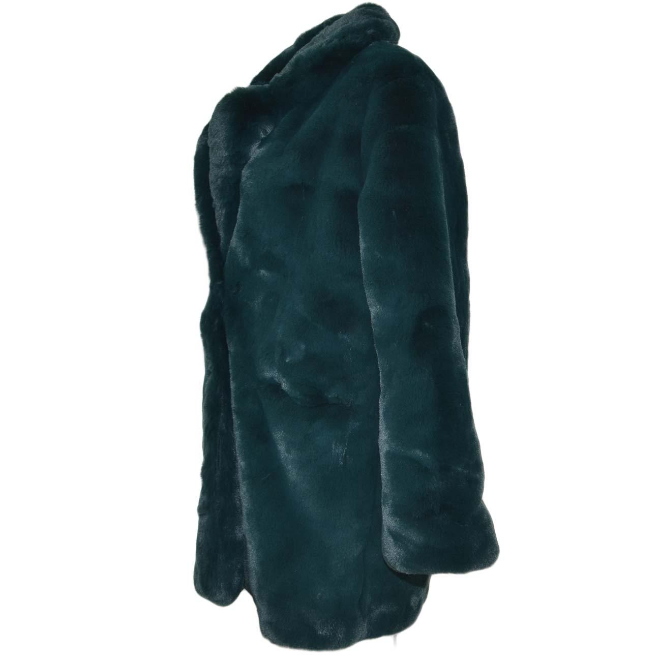 Pelliccia giacca ecologica donna verde bottiglia lunga morbida a due ganci  manica lunga molto calda e 411ec01c070