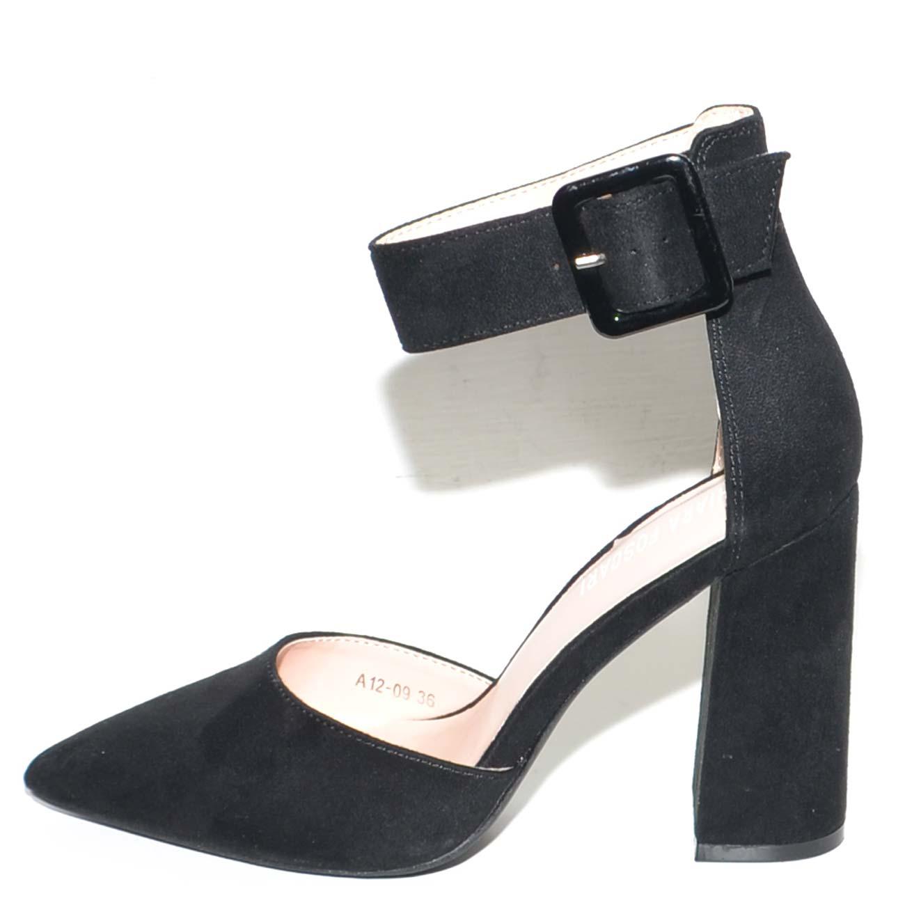 62b4140e1a Decollete donna nero in camoscio a punta con tacco largo 10 cm e cinturone  alla caviglia linea basic glamour donna dcollet Malu shoes | MaluShoes