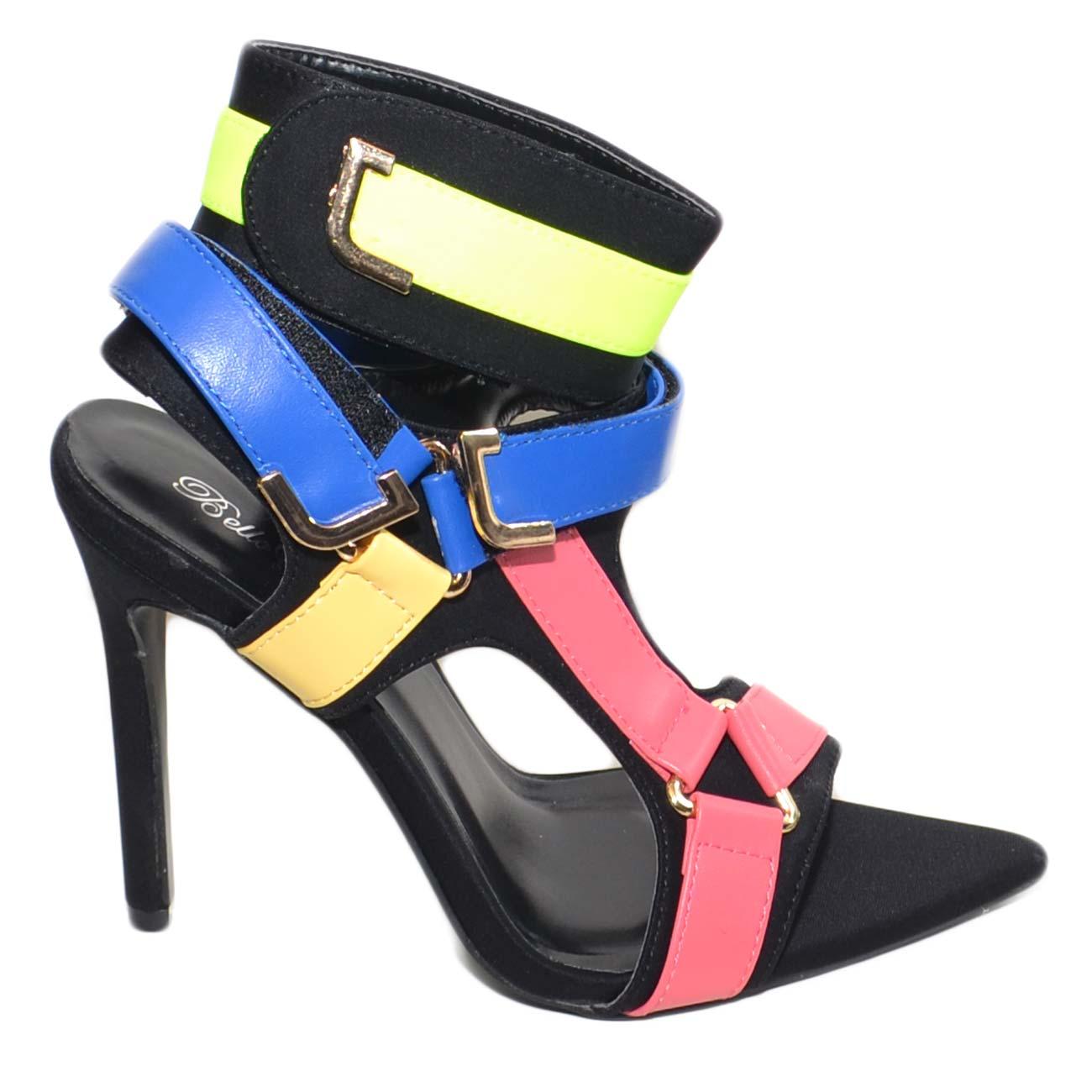 best loved 44231 208cf Sandalo donna colorato a punta con fibbie colorate rosa giallo blu tendenza  moda tacco a spillo 12 cinturino caviglia donna sandali tacco Malu Shoes |  ...