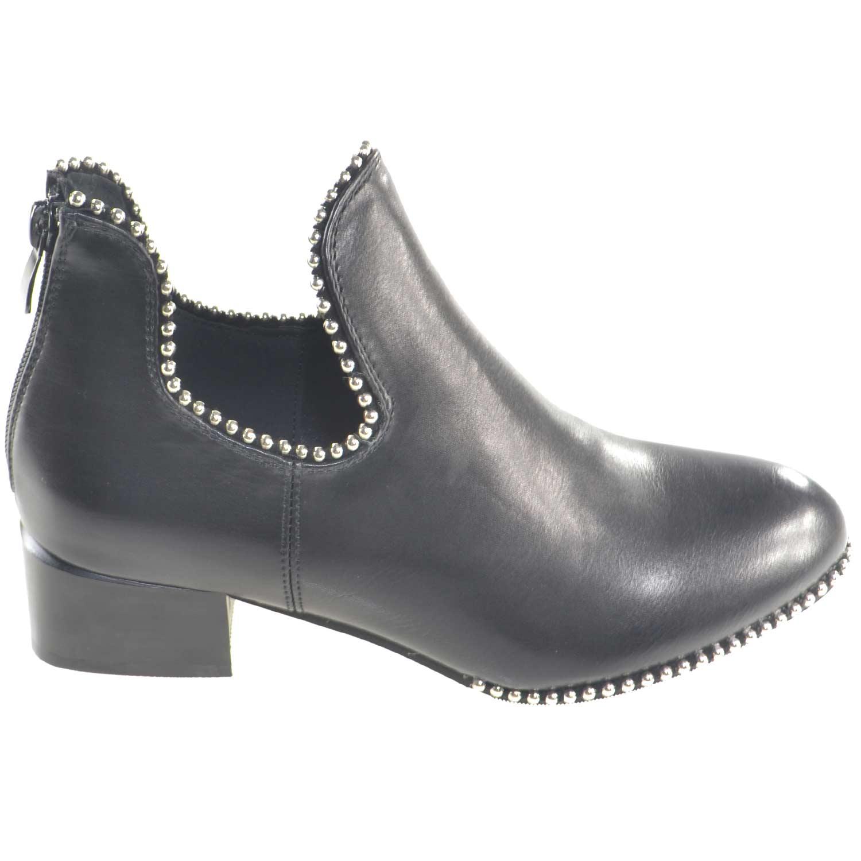 stivaletti donna estivi nero alla caviglia con scollatura a V camperos  borchie cerniera 838b5e72658