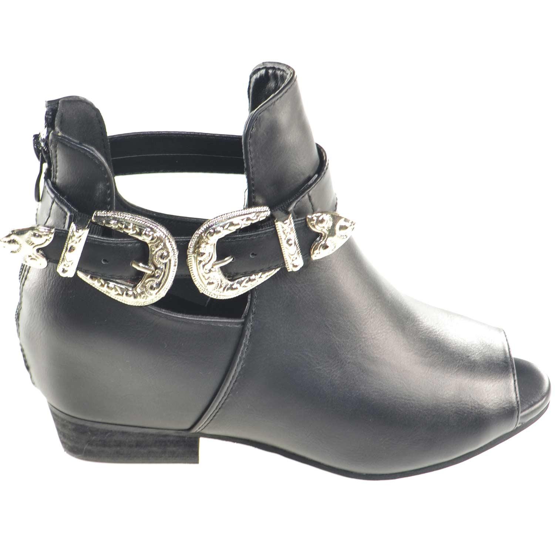 Scarpe donna stivaletto glamour doppia fibbia zip moda tendenza zeppa  interna comfort scollo primavera estate 9f5c6f670bf