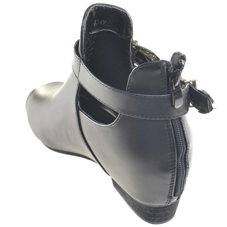 67e8462303107 Scarpe donna stivaletto glamour doppia fibbia zip moda tendenza zeppa  interna comfort scollo primavera estate. Passa il mouse sopra per eseguire  zoom