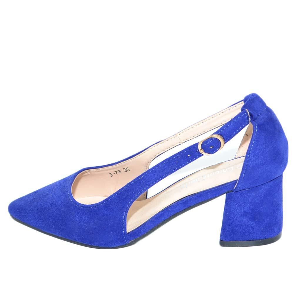 Abituarsi a biancheria cicatrice  Decollete' tacco doppio comfort asimmetrico blu con cinturino alla caviglia  e aperture laterali moda glamour donna d�collet� Malu Shoes | MaluShoes