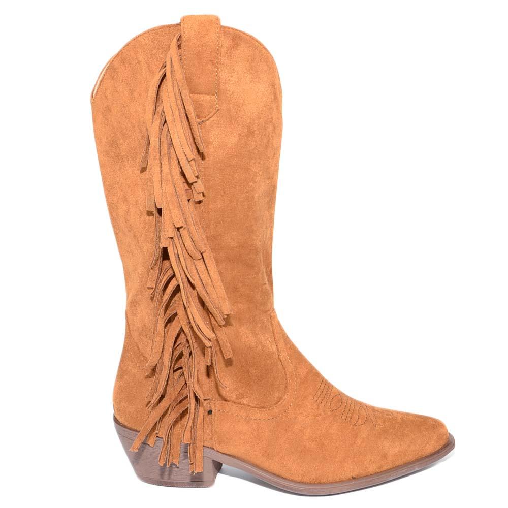 Stivali scarpe donna tacco comodo lacci aperti forati cuoio