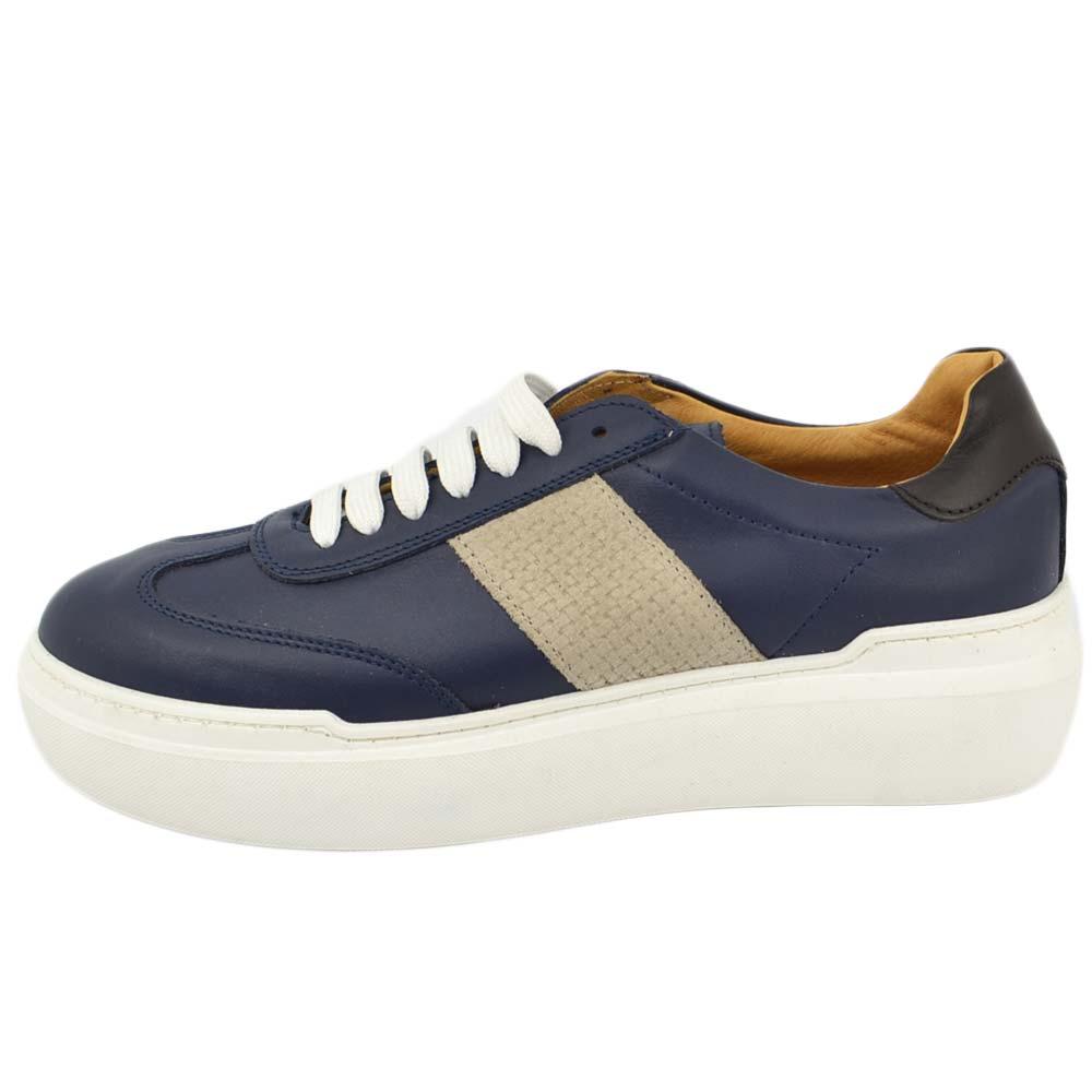 Dettagli su Sneakers bassa uomo in vera pelle di nappa blu con fondo antistrecht e riporti g