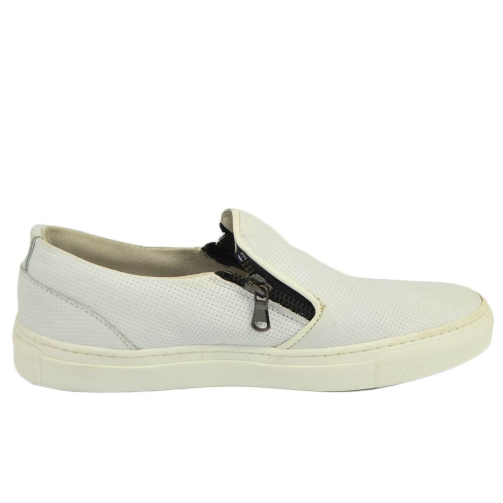 Mocassino slip on donna bianco con zip laterale fondo bianco comfort made in Italy vera pelle.