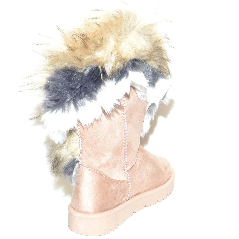 Stivaletti beige donna imbottiti di lana caldi con pelliccia sfumata doposci con suola in gomma impermeabile moda gogo donna stivali imbottiti Malu