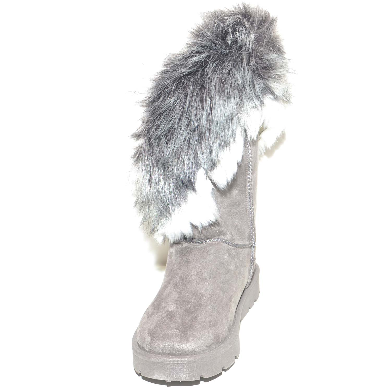 Dettagli su Stivaletti grigi donna imbottiti di lana caldi con pelliccia sfumata doposci con
