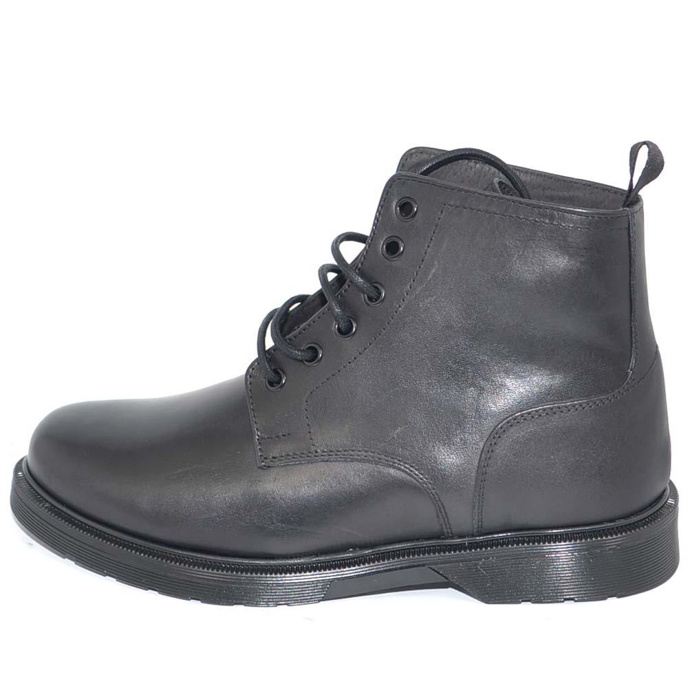 Stivaletto uomo anfibio vera pelle nero con lacci doppi fondo mertens trasparente invernale antiscivolo made in italy uomo anfibi Malu Shoes  