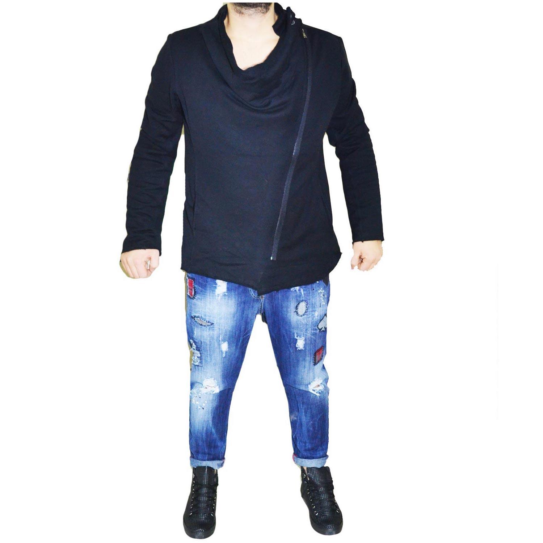 new style 9cbfb d2f0f Felpa con collo largo casual asimmetrica uomo felpe Made In Italy |  MaluShoes