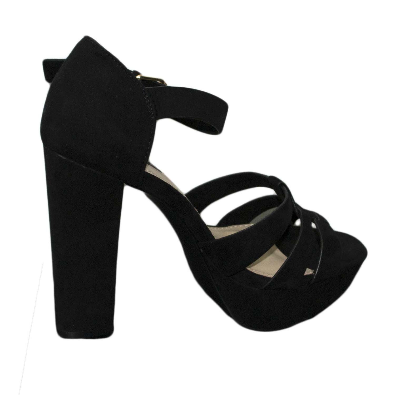 Sandalo camoscio fibbia chic tacco nero tacco donna glamour comfort SzMqpUV