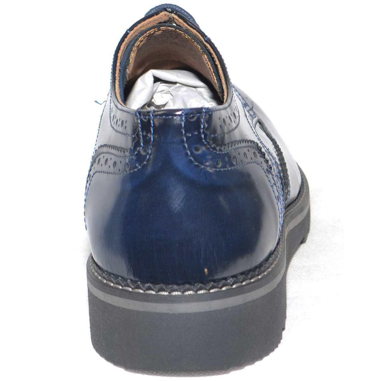 scarpe uomo stringate inglese vera pelle abrasivato blu made in italy fondo  furia nero rigo grigio 751b9d4de14
