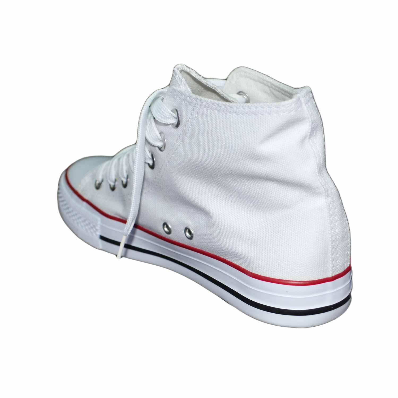 6f21538bc6 Scarpe tela uomo alte ginnico ultraleggere comode bianco stringate lacci  punta bianca uomo sneakers alta Malu Shoes | MaluShoes