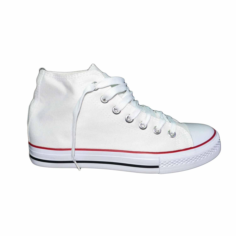 Scarpe tela uomo alte ginnico ultraleggere comode bianco stringate lacci  punta bianca uomo sneakers alta Malu Shoes | MaluShoes