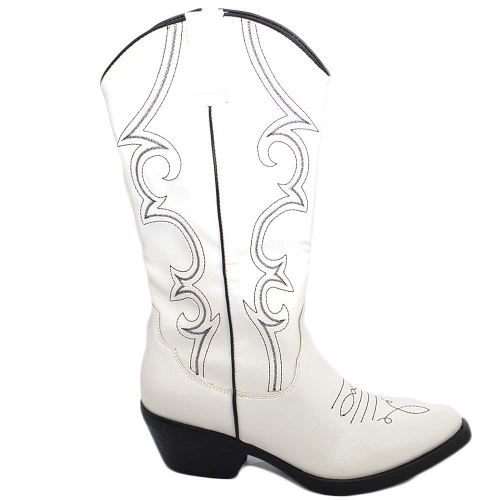 Stivali donna camperos texani stile western bianchi con