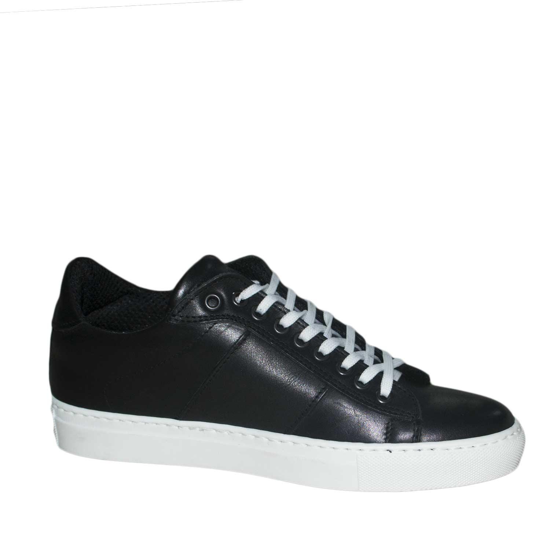 finest selection a3376 86bec scarpe uomo sneakers bassa nero black vera pelle fondo bianco stringhe uomo  sneakers bassa Malu Shoes | MaluShoes