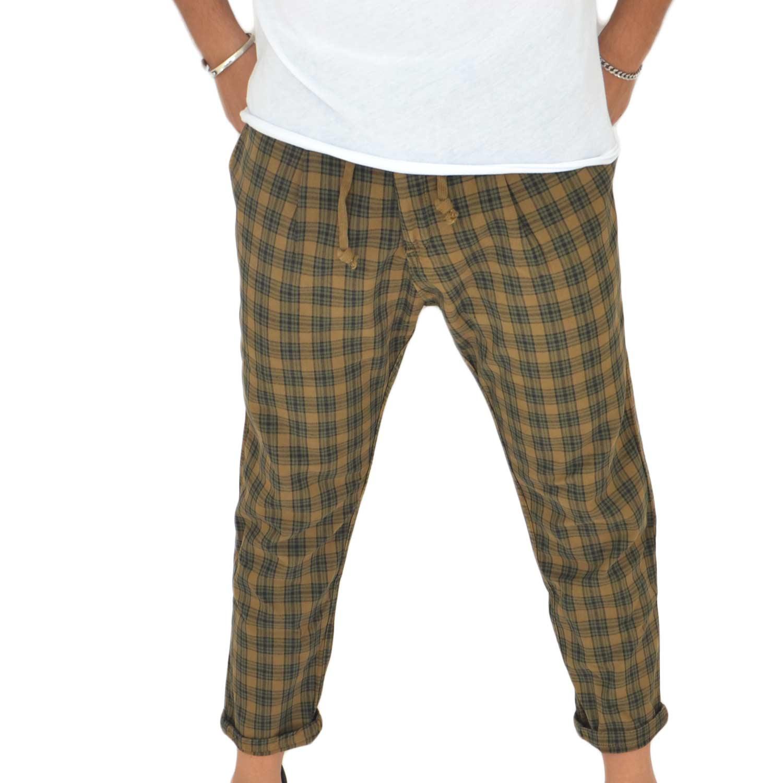 Glamour 0776 Dandy Moda Cuoio Pantaloni Scozzese Chino Art Cropped vZFZ4q